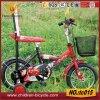 vélo rouge du gosse 20 avec le dos et le panier d'arrière