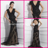 Schutzkappe Sleeves Evening Dresses Black Lace A - Zeile Pageant PROM Formal Dresses T21486