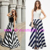Sleeveless a strisce Round Collar Long Dress con Highquality