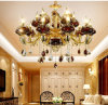 Goldene Zink-Luxuxlegierungs-rote hängende Glaslampe
