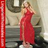 Lingerie sexy de V-Collet de femmes robe rouge de lacet de longue