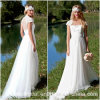 Robe nuptiale Wd152135 d'encolure de mariage de robe de plage Chiffon élevée de Vestidos