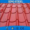 O telhado ondulado da cor cobre o peso da folha galvanizada do ferro