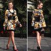 Robe Long-Sleeved Chiffon en soie de 2015 modes