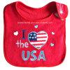 Bib vermelho barato relativo à promoção do bebê do Applique bordado dos EUA do vermelho de pano de Terry do algodão 'eu amo do