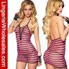 Женщины розовые и комплект женское бельё черного Striped Chemise Halter Fishnet сексуальный