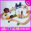 Caliente nuevo producto para 2015 niños de juguete tren de tren de juguete, de bricolaje de madera tren de juguete de tren conjunto de juguete, de madera del tren del juguete (CON 51pcs) W04c016