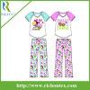 Pijamas cortos ignífugos de la funda de raglán de la muchacha fijados