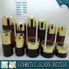 De donkere Bruine Gekleurde Kosmetische Fles van het Glas en de Kosmetische Kruik van het Glas met AcrylDeksel