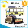 12V/24V 10A Controllerr solaire/régulateur avec la Duo-Batterie pour RV/Caravans/Boats dB-10A