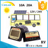 12V/24V 10A ZonneControllerr/Regelgever met Licht en de Controle van de Tijdopnemer dB-10A