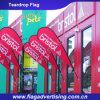 MOQ ne protège pas le bandeau publicitaire contre les intempéries de polyester, indicateur d'étalage, drapeau de tissu de larme