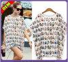 Coton sexy de mode/T-shirt imprimé par polyester pour les femmes (W298)
