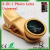 Grampo universal 3 em 1 jogo da lente para todos os telefones móveis Fisheye+Wide Angle+Macro