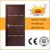 Portes en bois solides de PVC de la Chine de plaine en gros d'usine (SC-P189)