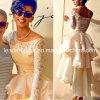 Kurze Hochzeits-Kleid Vestidos lange Hülsen-Spitze-Brauthochzeits-Kleider Wd1357