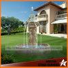 Fonte de água pequena do Travertine do jardim com leões e estátuas