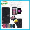 iPhone7のためのジッパーのカードスロットの現金記憶のリントの革札入れの電話カバーケース