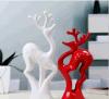 Witte de Decoratie van het Huis van Moden van de Herten van het Paar van het aardewerk & Rood 2 Stukken/Reeks van Ceramische Met de hand gemaakte Ambachten