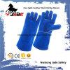 Gant bleu de travail de soudure de sécurité du travail de cuir fendu de peau de vache
