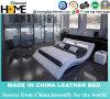 LED 침대 머리 (HC563)를 가진 유럽 현대 하얀 가죽 침대