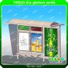 Abrigo al aire libre de la parada de omnibus de los muebles con la tarjeta del anuncio con el rectángulo ligero solar