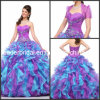 Multi мантия Q2154 шарика сини платьев Quinceanera Organza цветов пурпуровая