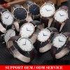 Yxl-565水晶ステンレス鋼は人の革バンドの贅沢な人の腕時計を見る