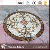 Медальон круглой формы бежевый мраморный водоструйный для картины пола лоббиа