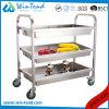 Chariot profond carré à étagères d'acier inoxydable de rangées du tube 3 pour le nettoyage et rassemblement avec ' roue 4