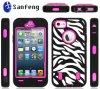 Pandamimi Rosa Pink White Zebra Combo Hard Soft Impact Caso per il iPhone 4 4s (BMWIP4)