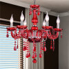 Rotes Decorative Modern europäisches Crystal Candle Chandelier mit 6 Lamp