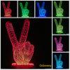 Victory Gesture Lampe de décoration 3D Lampe de nuit Table de bureau Lampe d'illusion optique Chargeur USB