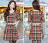 Heiße Verkauf-Korea Art-Plaid Kleiden-Partei Kleiden-Beiläufiges Tragen-Frauen Kleid (D-160)