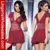 Ropa interior atractiva de la ropa de noche del cordón del V-Cuello de las mujeres