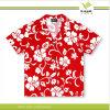 Chemise bon marché rouge en gros d'Hawaï de polyester d'impression (KY-S008)