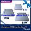 Yaye 2015 Venta caliente Plaza 6W / 12W / 18W Surface Mounted Panel de luz LED