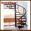 Escalier spiralé d'acier doux avec la balustrade de PVC pour d'intérieur (SJ-S002)