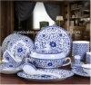 Chaleira dos utensílios de mesa da porcelana de Jingdezhen ajustada (Lotos QW-Azul)