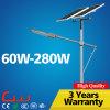 Luz de calle polivinílica doble de la altura de los paneles 60W los 8m poste solar
