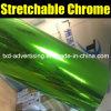 Alta película brillante verde del vinilo del cromo de Strechable