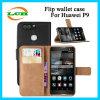 Caisse de cuir de pochette de chiquenaude avec le logement pour carte pour Huawei P9
