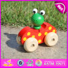 2015 새로운 Arrival Unique Mini Car Wooden Toy, Lovely Frog Design Wooden Hand Pull 및 Push Toy, Christmas Wooden Drag Toy W04A141