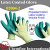 10g желтый полиэстер / хлопок трикотажные перчатки с зеленым латекса морщин покрытия / EN388: 2121