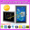 Q8 7 PC capacitivo magro super MEADOS DE da tabuleta do Android 4.0 de Allwinner A13 da polegada (FP707)