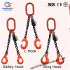 G80 Tow Leg Sfety Hook Lifting Chain Sling con Ring