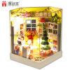 2017 la casa de muñeca de madera del juguete DIY del nuevo cabrito del diseño con el mejor cumpleaños de los muebles desea día de la Feliz Navidad