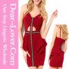 Сексуальное красное крестовидное платье Peplum Keyhole украшения