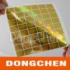Autocollant holographique d'étiquette de logo fait sur commande d'or
