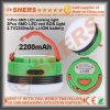 Impermeable recargable USB LED Linterna camping Sos Luz 3.7V2200mAh de ion de litio